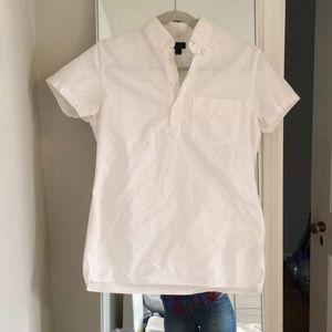J Crew Oxford white half button shirt top blouse